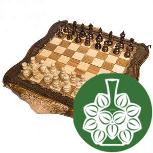 "Шахматы + Нарды резные ""Арарат"" с бронзой 30"